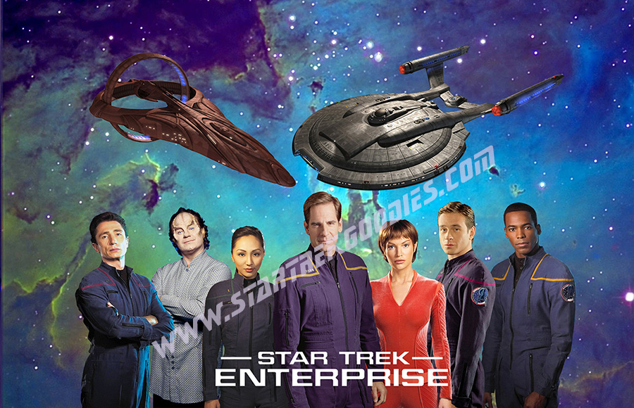 This Star Trek Enterprise POSTER Shows The FULL MAIN CREW With TV Title STAR TREK ENTERPRISE On Bottom And Starship NX 01 A